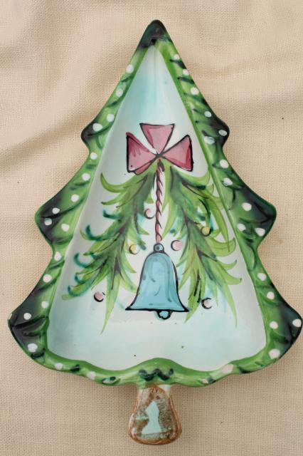vintage Holt Howard - Japan hand-painted ceramic Christmas tree dishes