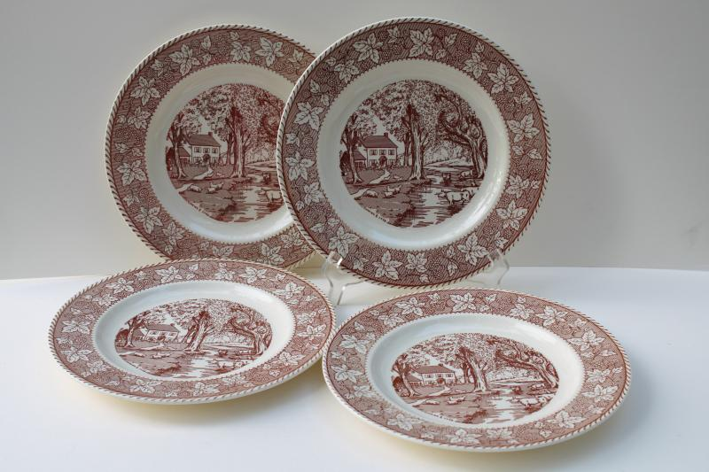 vintage Home Sweet Home Kingsway Homer Laughlin brown transferware dinner plates