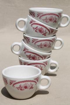 vintage Homer Laughlin Best China red or pink transferware ironstone cups