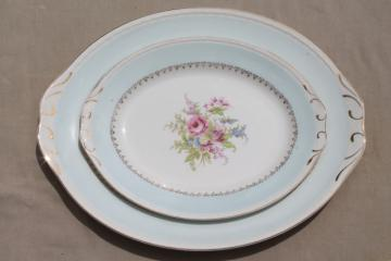 vintage Homer Laughlin Eggshell Georgian floral china trays or platters, aqua blue w/ flowers