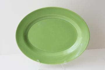vintage Homer Laughlin Harlequin unmarked pottery dinnerware, chartreuse green platter