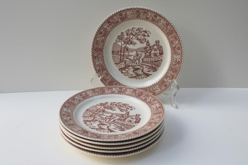 vintage Homer Laughlin Kingsway brown transferware plates, Traveler's Welcome berries border