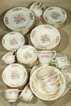 vintage Homer Laughlin Queen Esther moss rose china, estate dinnerware set for 8