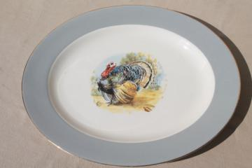 vintage Homer Laughlin Thanksgiving turkey platter, grey band border Cavalier china