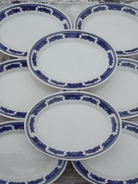vintage Homer Laughlin best china oval plates, ming blue & white ironstone