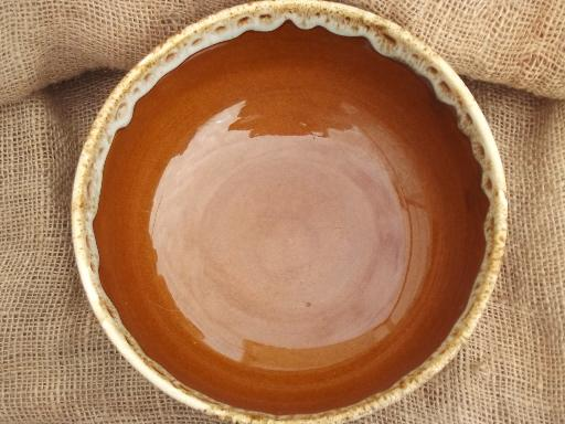 vintage Homer Laughlin brown drip glaze pottery, big mixing bowl
