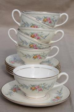 vintage Homer Laughlin china Cashmere floral Eggshell Georgian cups & saucers