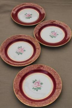 vintage Homer Laughlin china cake plates w/ pink roses, wine red & gold border
