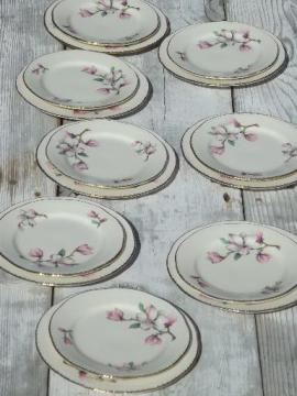 vintage Homer Laughlin china plates, pink magnolia branch floral pattern