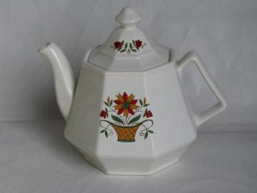 vintage Homer Laughlin dover white ironstone china teapot, flower basket pattern, octagon shape