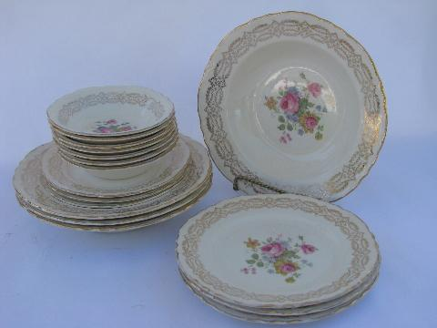 vintage Homer Laughlin pottery pattern H49N6 pink roses china plates \u0026 bowls & vintage Homer Laughlin pottery pattern H49N6 pink roses china ...