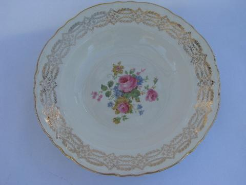 vintage Homer Laughlin pottery pattern H49N6 pink roses china plates \u0026 bowls & Homer Laughlin pottery pattern H49N6 pink roses china plates \u0026 bowls
