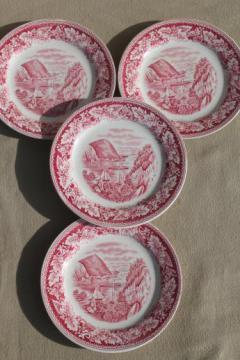 vintage Homer Laughlin red transferware Currier & Ives Hudson River Crow Nest