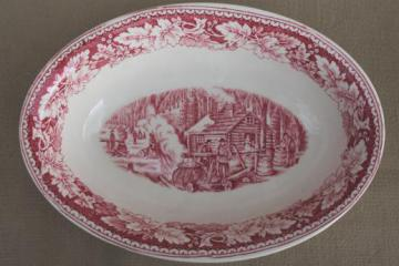 vintage Homer Laughlin red transferware Currier & Ives Maple Surgaring oval bowl