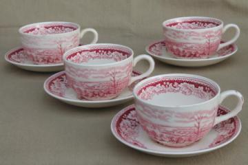 vintage Homer Laughlin red transferware Currier & Ives View of New York cups & saucers