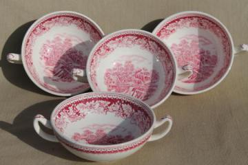 vintage Homer Laughlin red transferware Currier & Ives china footed cream soup bowls set
