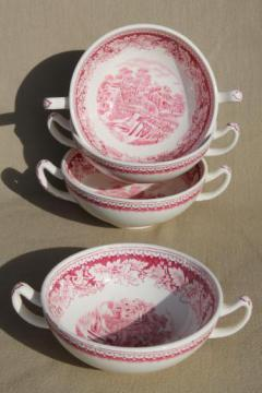 vintage Homer Laughlin red transferware Currier & Ives china footed cream soup bowls se