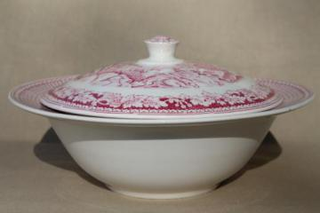 vintage Homer Laughlin red transferware Currier & Ives covered bowl
