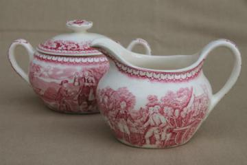 vintage Homer Laughlin red transferware Currier & Ives cream pitcher & sugar bowl