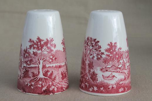 Vintage Homer Laughlin Red Transferware Currier Ives Salt Pepper