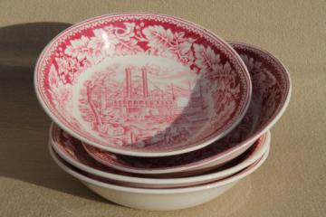 vintage Homer Laughlin red transferware china Currier & Ives Mississippi steamboat bowls