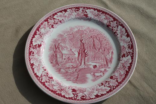 vintage Homer Laughlin red transferware china dinner plates Currier u0026 Ives Home Sweet Home & vintage Homer Laughlin red transferware china dinner plates Currier ...