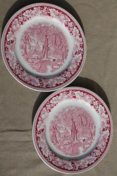 vintage Homer Laughlin red transferware china dinner plates Currier & Ives Home Sweet Home