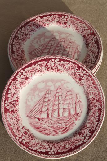 vintage Homer Laughlin red transferware china plates Currier \u0026 Ives Clipper Ship & vintage Homer Laughlin red transferware china plates Currier \u0026 Ives ...
