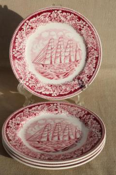 vintage Homer Laughlin red transferware china plates Currier & Ives Clipper Ship