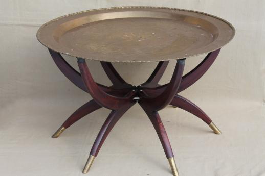 vintage Hong Kong brass tray table  folding wood stand w  removable round  brass tray top. vintage Hong Kong brass tray table  folding wood stand w