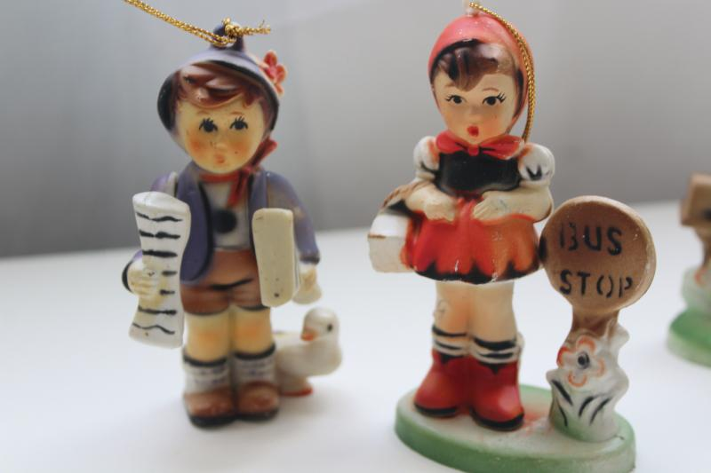 vintage Hong Kong plastic figurines, Hummels Valentine children, bus stop girl & boy