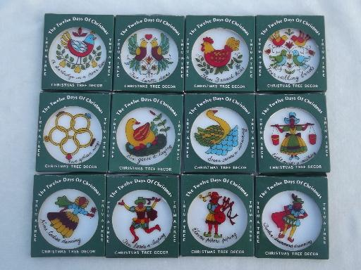 vintage Hong Kong plastic tree ornaments set, Twelve Days of Christmas