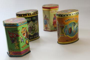 vintage Hong Kong tea tins w/ colorful graphics, orange, vanilla, spice boxes