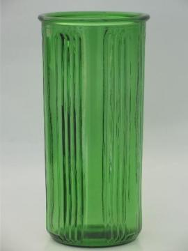 vintage Hoosier glass canister or vase, tall ribbed green glass jar