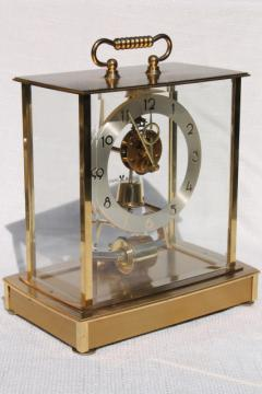 vintage Howard Miller brass carriage clock w/ mystery pendulum Germany
