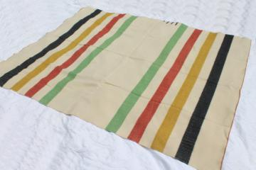 vintage Hudson Bay point blanket, striped wool camp blanket four point Hudson's Bay