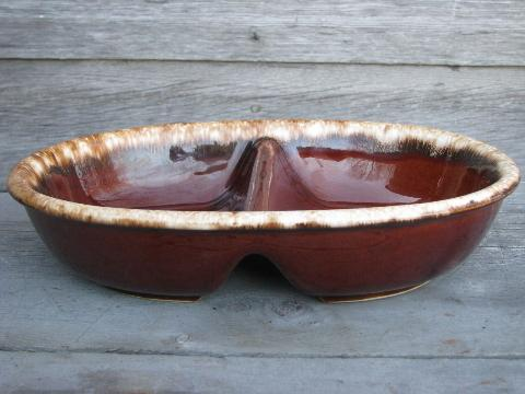 vintage Hull Oven Proof brown drip pottery, divided oval serving bowl