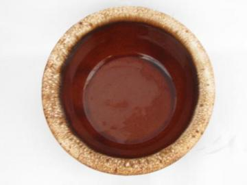 vintage Hull Oven Proof brown drip pottery, lot 6 soup / chili bowls