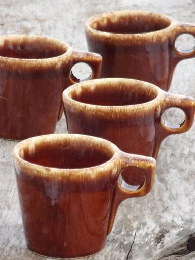 dd096fd2cec vintage Hull brown drip glaze pottery mugs, oven proof coffee cups