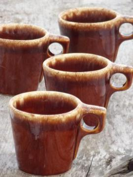 vintage Hull brown drip glaze pottery mugs, oven proof coffee cups
