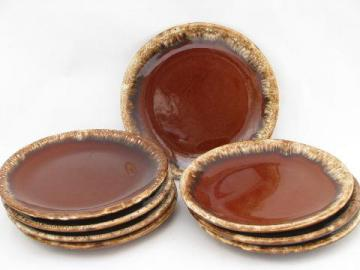 vintage Hull brown drip glaze pottery, set of 8 small plates