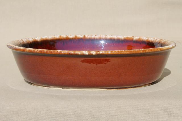 vintage Hull brown drip oven proof pottery, large round mixing bowl & oval dish