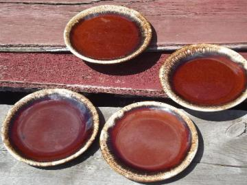 vintage Hull mirror brown drip pottery, oven proof plates set of 4