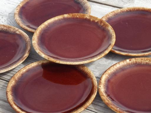 Vintage Hull Oven Proof Pottery Sandwich Plates Set Brown