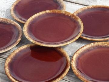 vintage Hull oven proof pottery sandwich plates set, brown drip ring pattern