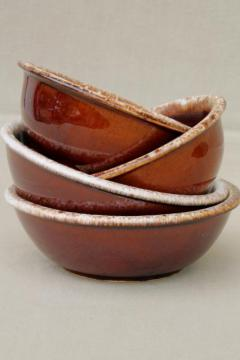 vintage Hull pottery brown drip glaze chili or soup bowls & cereal bowls