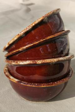 vintage Hull pottery brown drip glaze oatmeal / cereal bowls, set of 4