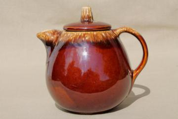 vintage Hull pottery tea pot, mirror brown drip glaze stoneware teapot