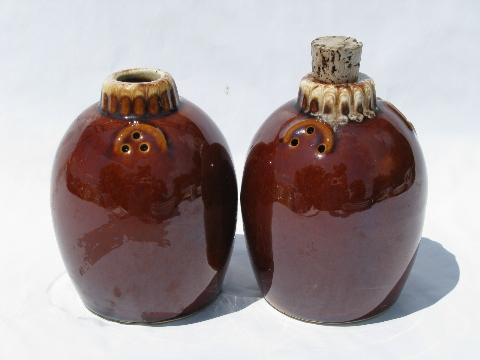 vintage Hull stoneware pottery range set salt and pepper shakers, mirror brown drip glaze