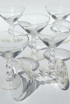 vintage Imperial Candlewick stemware, martini cocktail glasses set of 6